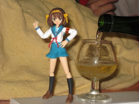 A Toast is in order, don't you think, Suzumiya-San? (Yes, that's real Champagne.)